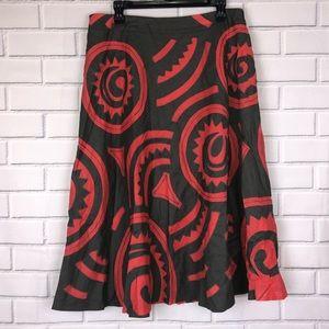 LAFAYETTE 148 l Gray Coral Linen Cutout Skirt 10